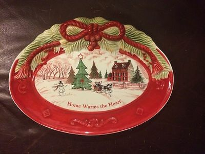 """FITZ and FLOYD SENTIMENT TRAY """"HOME WARMS the HEART"""" HAND CRAFTED HOLIDAY PLATE"""