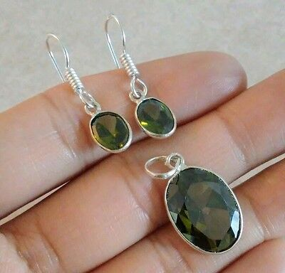 Natural Olive Green Peridot 925 Sterling Silver Pendant Earrings Jewelry Set