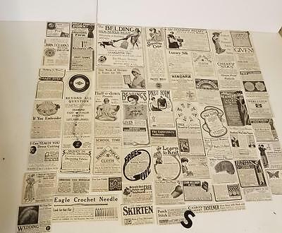 50 antique Magazine sewing ads 1900's advertising lot vintage paper clippings S