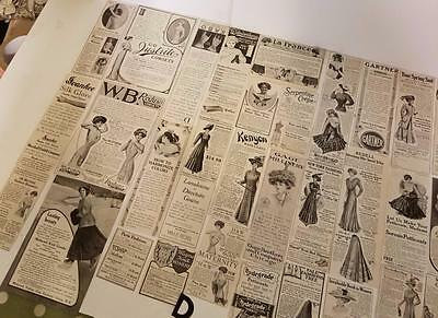 50 antique women's Magazine fashion ads 1900's advertising lot paper clippings D