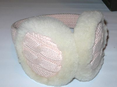 Ugg Pink Cable Knit Wired Women's Softest Fleece Lined Ear Muffs