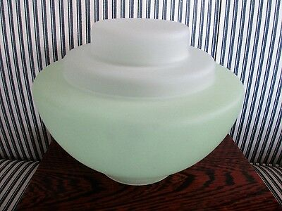 Art Deco Frosted Green Glass Light Shade