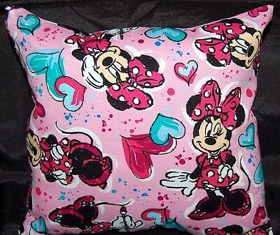 New Handmade Disney Minnie Mouse Pink Heart Toddler Travel Car  Pillow