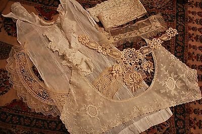 Lot Antique Lace Trim Victorian Clothing Remnants Collars Cuffs Dickey