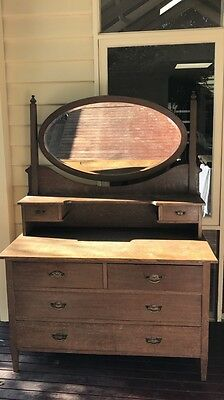Art Deco Dressing Table. Drawers. Oval Mirror.