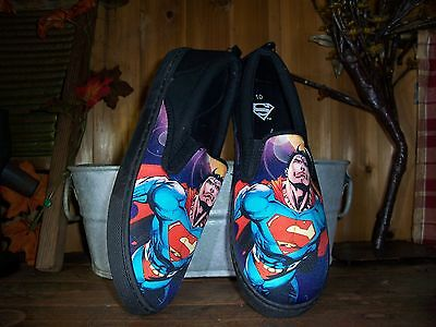 Superman Mens Slippers Size 10 Mens Super Hero Casual Shoes Rubber Sole Canvas