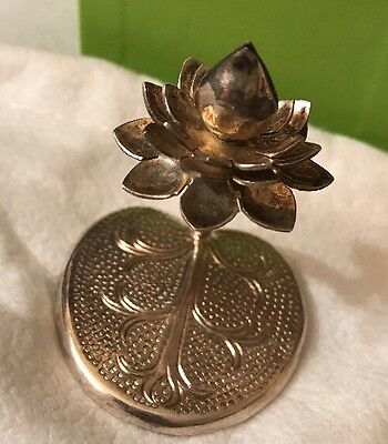 Vintage Sterling Silver Hallmarked Flower Figural Miniature Holder Statue