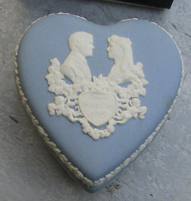 Wedgwood Blue Jasper Heart Shaped Box Royal Wedding 1986 Andrew & Sarah