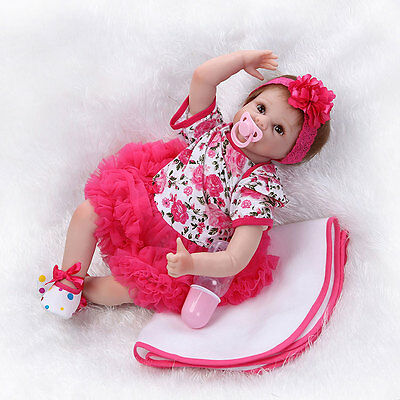 55cm Lifelike Baby Girl Doll Silicone Vinyl Reborn Newborn Dolls w/ Clothes