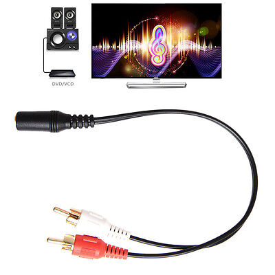 3.5mm AUX Male to 2 RCA Female Splitter Cable Stereo Audio AV Adapter Cord 1Pc