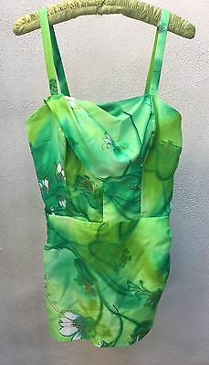 Vintage Kawaii Swimwear One Piece Suit Neon Greens Kimo's Polynesian Shop Sz 20