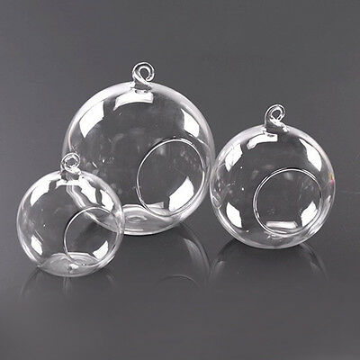 Clear Stylish Glass Round Hanging Candle Light Holder Candlestick - 10CM