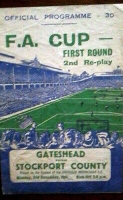 Gateshead V Stockport 3/12/1951 Fa Cup 2Nd Replay @ Hillsborough