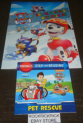 Paw Patrol Reading Book Pet Rescue + 16 Page Coloring Book With Stickers New