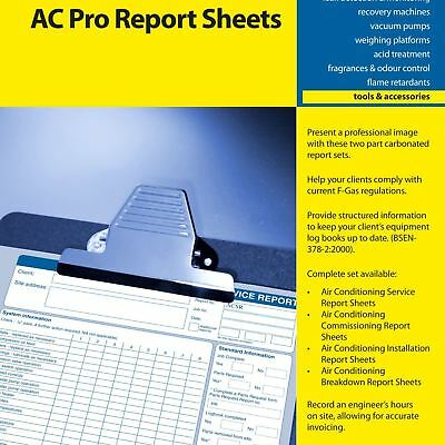 Air Conditioning Service Report Sheets