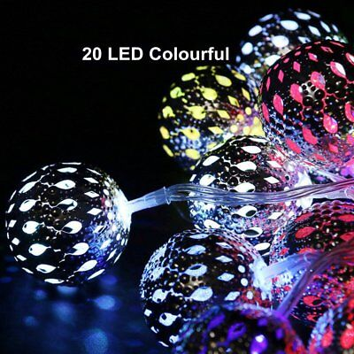 Solar String Lights Outdoor 20 LEDs Moroccan Sliver Metal Ball Garden Fairy Lamp
