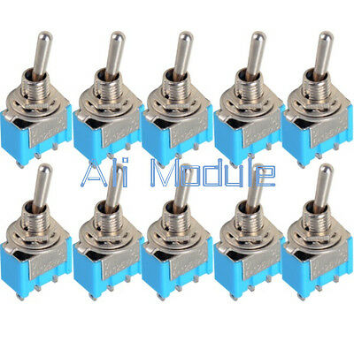 10 Pcs AC 125V 6A Amps MTS-102 3-Pin SPDT ON/ON 2 Position DPDT Toggle Switch