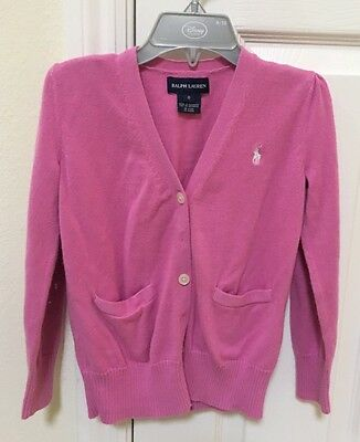 Polo Ralph Lauren Pink Cardigan For Girls Size 6 Good Condition