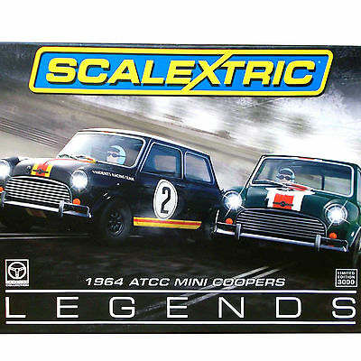 SCALEXTRIC 1:32 AUSTRALIAN ATCC Mini Cooper S 1964 LEGENDS TWO CAR SET LE 3586