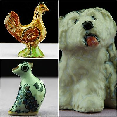 Collection of three pottery animals -  bird, chicken and dog.