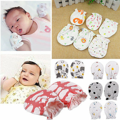 1/3/5 Pair Newborn Baby Infant Anti Scratch Mittens Gloves Soft Cotton Handguard