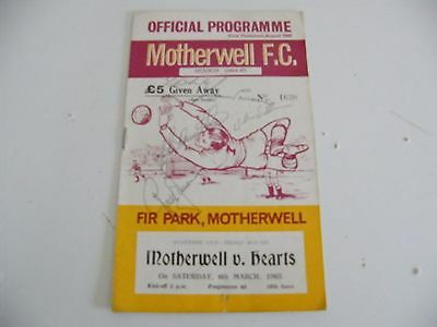Motherwell fc v Hearts of midlothian 6/3/1965 autographed programme