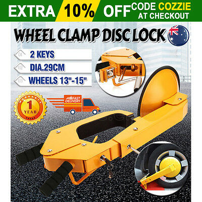 """Car Vehicle Wheel Lock Clamp Disc 13""""-15"""" Anti-Theft Security Safety Heavy Duty"""