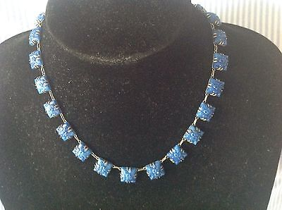 1920s FRENCH ART DECO BLUE PEKING STYLE GLASS FLOWER NECKLACE