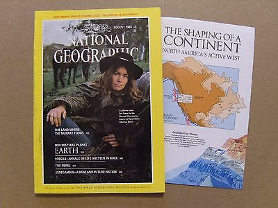 National Geographic Magazine - August 1985 - Earths Crust Supplement Included