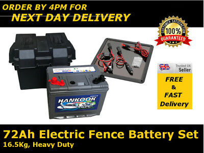 72Ah Electric Fence Battery, Box & Solar Charger Set