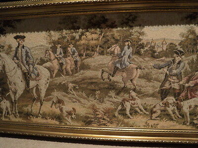 Vintage English Fox Hunt large tapestry in frame