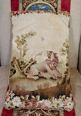Antique French Aubusson Pillow Lion Bee Silk Tassel Trimmings