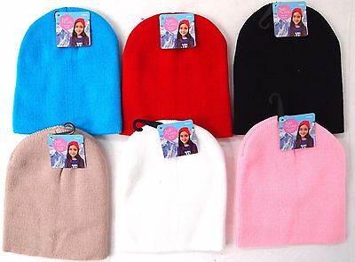 Kids Plain Beanie - Children Cute Fun Cosy Warm Winter Snow Ski Acrylic Bright