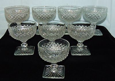 "8 Anchor Hocking MISS AMERICA CRYSTAL *3 3/4"" SHERBETS*"