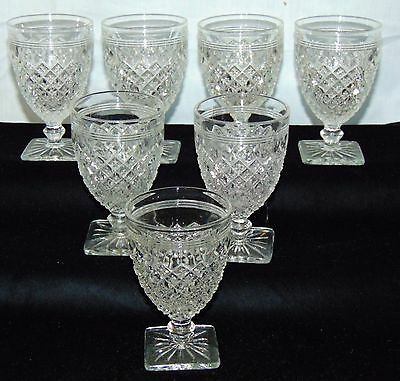 "7 Anchor Hocking MISS AMERICA CRYSTAL *3 3/4"" WINE GOBLETS*"