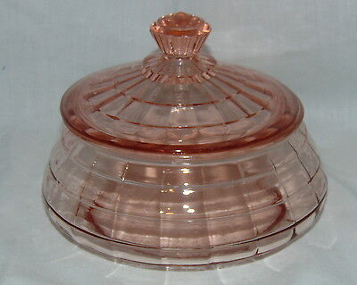 "Anchor Hocking BLOCK OPTIC PINK *2 1/4"" LOW CANDY JAR w/COVER*"