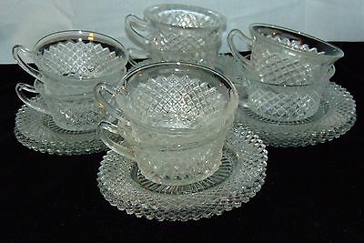 8 Anchor Hocking MISS AMERICA CRYSTAL *CUPS & SAUCERS*