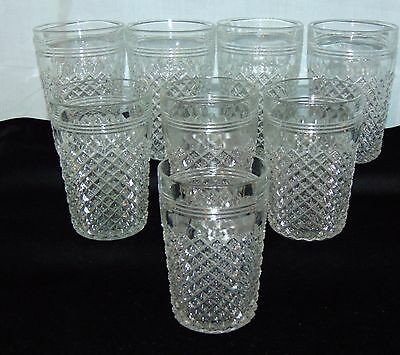 "8 Anchor Hocking MISS AMERICA CRYSTAL *4 1/2"" WATER TUMBLERS*"