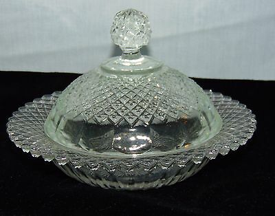 Anchor Hocking MISS AMERICA CRYSTAL *BUTTER DISH w/LID* REPRODUCTION*