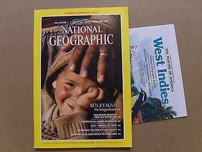 National Geographic Magazine - November 1987 - West Indies Map Included
