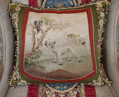 Antique French Aubusson Pillow Wolf Bird Silk Tassel Trimmings