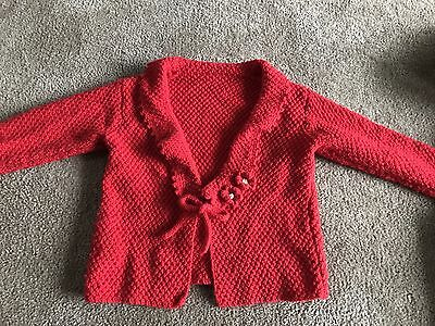 Girls Size 6 Cherry Red Hand Knit Cardi Jacket Pure New Wool