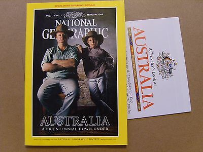 National Geographic Magazine - February 1988 - Australia Map Included