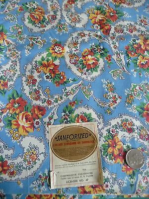 """Vintage Paisley Cotton Fabric deep sea blue PAPER LABEL 36w156"""" Material old"""