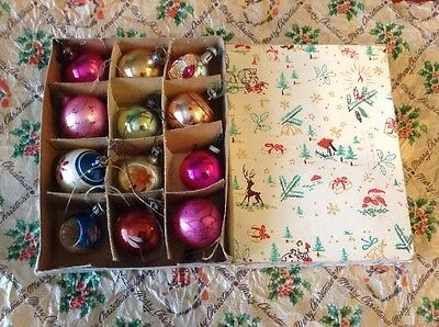12 Lovely Vintage Christmas Tree Baubles Small Boxed