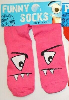 BNWT 1 Pair of Girls Funny Puppet Novelty Pink Ankle Socks Shoe Size 9-11.5 A80