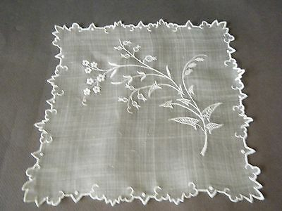 Vtg linen wedding bridal handkerchief with beautiful hand appenzell embroidery