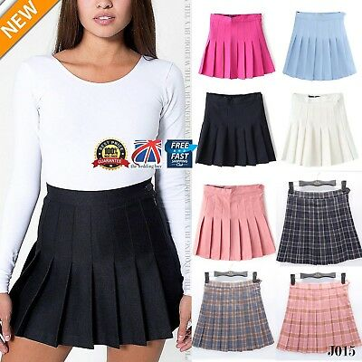 UK Women Girl Slim Thin High Waist Pleated Tennis Skirts Mini Dress Playful J015