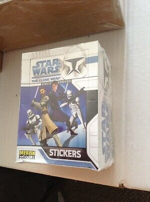 Box Merlin Star Wars Stickers The Clone Wars Sealed Box 50 Packets