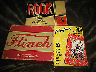 3 Parker Brothers Rook 1943 Flinch 1938 Maxine Big Hallmark Playing Card Games